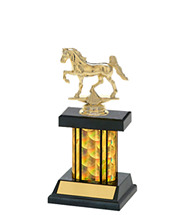 "9 1/4"" Small Holographic Black & Gold Column Trophy"