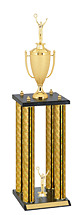 "31"" Holographic Black and Gold Trophy with 4 Columns"