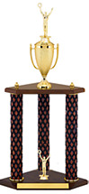 "25"" Diamond Cut Walnut-Tone Trophy with 3 Columns"