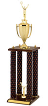 "31"" Diamond Cut Walnut-Tone Trophy with 4 Columns"