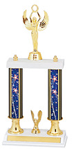 "15-17"" Patriotic Blue Trophy with Double Columns"