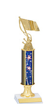 "12-14"" Patriotic Blue Trophy with Round Column"