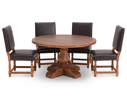 Bellisario 5 Pc Round Upholstered Dining Room Set