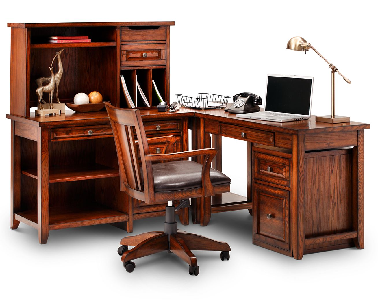Oak Ridge 4 Pc  Desk Set. Home Office Desks  Desk   Hutch Sets   Furniture Row