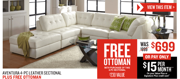 aventura 4 piece leather sectional free ottoman 699. Black Bedroom Furniture Sets. Home Design Ideas