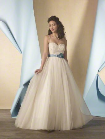 A Lace Signature Bridal Dress with a Full-Length Decorated Ball Gown Skirt, Chapel Train, Low Backline, Sweetheart Bodice with Spaghetti Straps