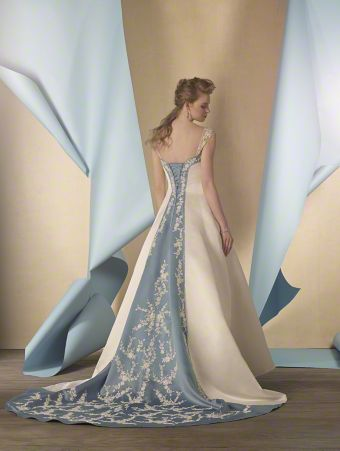 A Satin Signature Bridal Dress with a Full-Length A-Line Skirt and Colored Insets at the Semi-Cathedral Train and Fitted Sweetheart Bodice