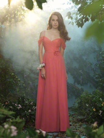 An Elegant Bridesmaid Standing In A Red, Floor Length Fairy Tale Bridesmaid Dress With Spaghetti Straps And Draped Sleeve Detail