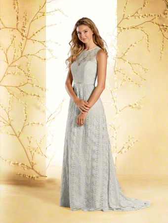 A long lace princess bridesmaid dress with sweetheart neckline, sheer sleeveless yoke, gathered A-line skirt, and sweep train.