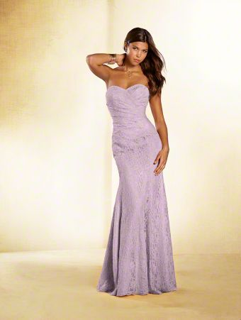 A long lace princess bridesmaid gown with strapless, sweetheart neckline, asymmetric dropped waist, and flared skirt.