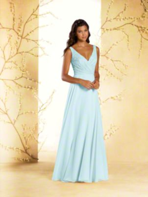 A long princess bridesmaid dress with v-neckline, shoulder straps, natural waist, and full circular skirt.
