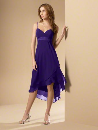 A High-Low Hemline, A-Line Style Bridesmaid Dress With A V-Shaped Neckline, Spaghetti Straps And A Satin Band At The Empire Waist.
