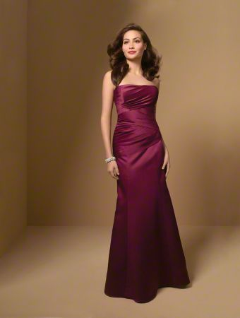 A Strapless, Fit And Flare Style, Long Bridesmaid Dress With A Straight Neckline, A Dropped Waist And A Lace-Up Back.