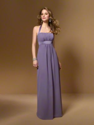 A Floor Length, A-Line Style Bridesmaid Dress With A Straight Neckline, Halter Straps And A Satin Band At The Empire Waist.