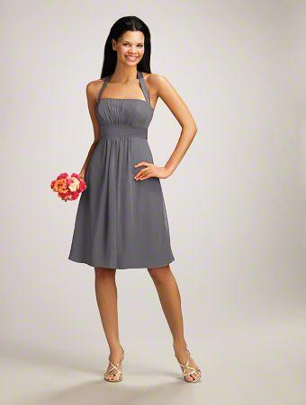 A Short Bridesmaid Dress with Halter Straps, a Straight, Pleated Bodice, Satin Empire Waistband, and a Flirty, Cocktail-Length Skirt
