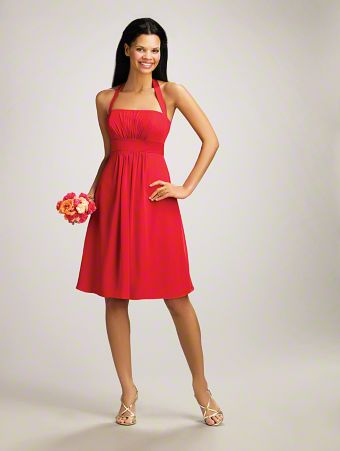 A Short Bridesmaid Dress with Halter Straps, a Straight, Pleated Bodice, Satin Empire Waistband, and a Flirty, Cocktail-Length Skirt
