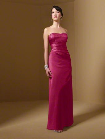A Long Bridesmaid Dress with a Narrow A-Line Silhouette, Floor Length Skirt, Draped Bodice, and Decorated Strapless Neckline