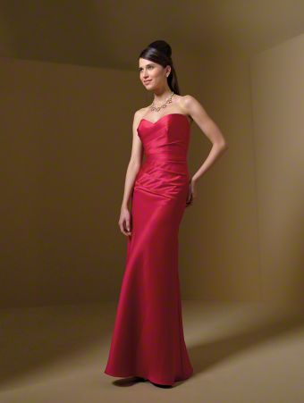 A Long Bridesmaid Dress with an A-Line Floor Length Skirt, Draped Bodice, Scooped Backline, and Sweetheart Neckline
