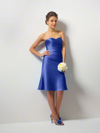 A Short Bridesmaid Dress with an A-Line Cocktail-Length Skirt, Draped Bodice, Lace-Up Back, and Strapless Sweetheart Neckline