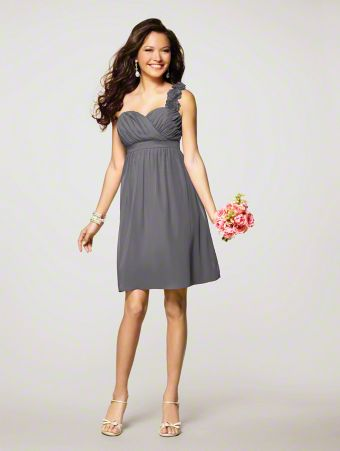 A Short Bridesmaid Dress with an A-Line Cocktail-Length Skirt, and Flower-Detailed One-Shoulder Sweetheart Neckline