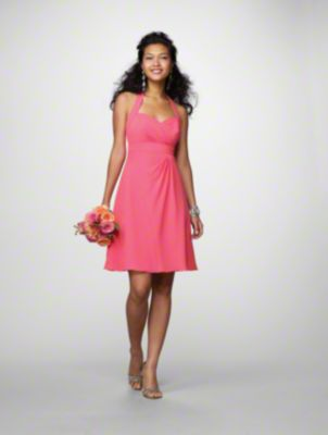 A Short Chiffon Bridesmaid Dress with a Cocktail-Length A-Line Skirt, Empire Waistline, Pleated Front Detail, and Haltered Sweetheart Neckline