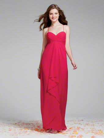 A Long Chiffon Bridesmaid Dress with a Floor-Length A-Line Silhouette Skirt with Center Ruffle Design, Empire Waist, and Sweetheart Neckline