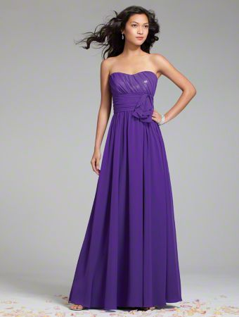 A Long Chiffon Bridesmaid Dress with a Full-Length Shirred Skirt, Natural Wrapped Waist with Sequined Bodice, and Strapless, Scooped Neckline