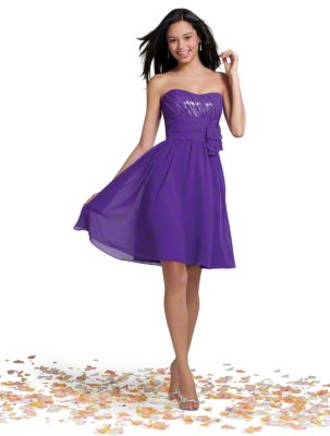 A Short Chiffon Bridesmaid Dress with a Cocktail-Length Shirred Skirt, Natural Wrapped Waist, Sequined Bodice, and Strapless, Scooped Neckline