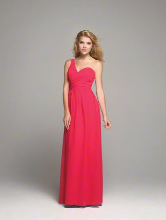 A Long Chiffon Bridesmaid Dress with a Floor-Length A-Line Skirt, Natural Waist with Draped Bodice, and Sweetheart, One-Shoulder Neckline