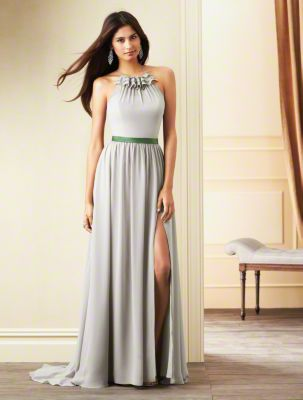 A Long Chiffon Bridesmaid Dress with a Full-Length Skirt with Side Slit, Sweep Train, Contrasting Color Waistband, and High-Halter Neckline