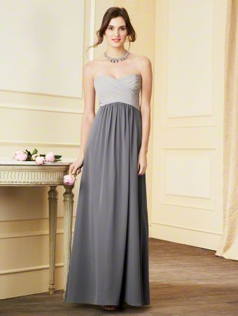 A Strapless Chiffon Bridesmaid Dress with a Contrasting Color Floor-Length Shirred Skirt, Empire Waist, Draped Bodice, and Sweetheart Neckline