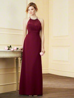 A Chiffon Bridesmaid Dress with a Full-Length A-Line Skirt and Sweep Train, Empire Waist, Open Back, and Decorated High Halter Neckline