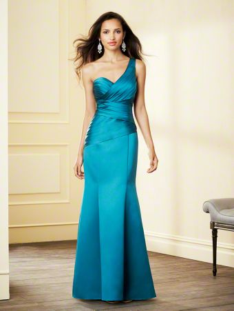 A Satin Bridesmaid Dress with a Floor-Length Pleated Mermaid Skirt, Crisscross Pleated Bodice, Low Dropped Waistline, and One-Shoulder Neckline