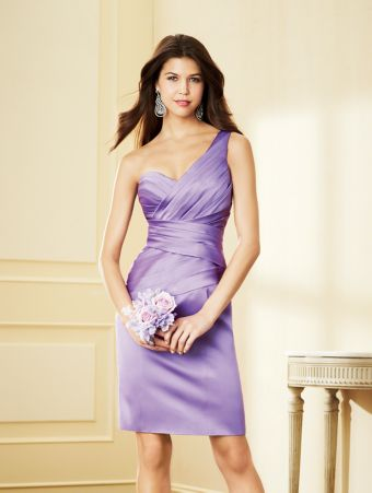 A Satin Bridesmaid Dress with a Cocktail-Length Pleated Sheath Skirt, Crisscross Pleated Bodice, Dropped Waistline, and One-Shoulder Neckline