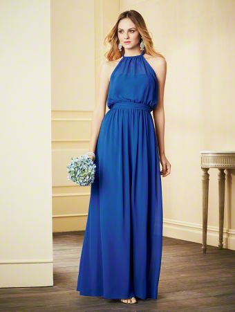 A Long Chiffon Bridesmaid Dress with a Floor-Length Jumpsuit Wide-Leg Pants, Natural Waist with Blouson Bodice, and Halter Neckline