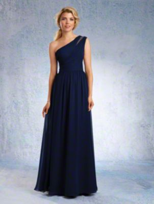 A Chiffon Bridesmaid Dress with a Floor-Length A-Line Skirt, Draped Bodice, Natural Waist, and Single-Shoulder Neckline with Sheer Inset