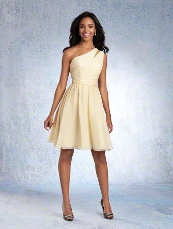 A Chiffon Bridesmaid Dress with a Cocktail-Length A-Line Skirt, Draped Bodice, Natural Waist, and Single-Shoulder Neckline with Sheer Inset