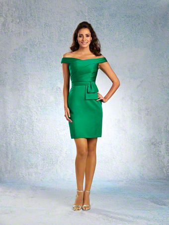 A Cocktail-Length Satin Bridesmaid Dress with a Fitted Silhouette, Draped Bodice, Abstract Bow Detail at Waist, and Off-the-Shoulder Neckline