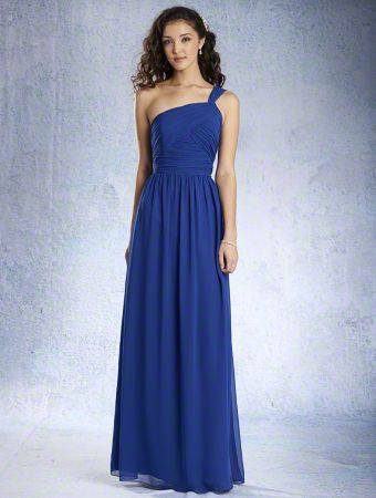 A Full Length, A-Line Style, One Shoulder Bridesmaid Dress With A Natural Waist And Gathered Skirt.