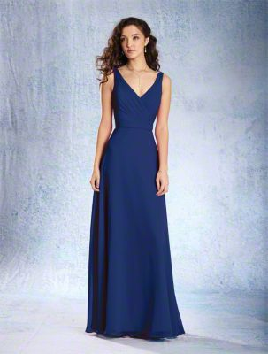 A Full Length, A-Line Style, Long Bridesmaid Dress With A V-Shaped Neckline And Circular Cut Skirt.