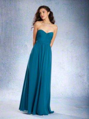A Strapless Full Length, A-Line Style, Long Bridesmaid Dress With A Natural Waist And Gathered Skirt.