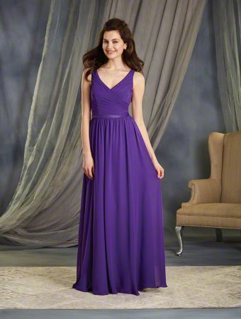 A Full Length, A-Line Style, Long Bridesmaid Dress With A V-Shaped Neckline And Satin Waistband Accent At The Natural Waistline.