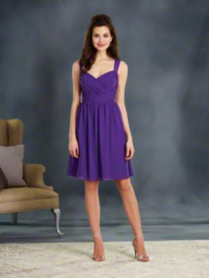A Cocktail Length, A-Line Style, Short Bridesmaid Dress With Sheer Shoulder Straps And A Keyhole Back.