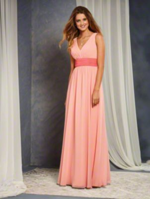 A Full Length, A-Line Style, Long Bridesmaid Dress With A V-Shaped Neckline And A Contrasting Colored Gathered Waistband At The Natural Waistline.