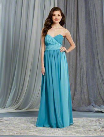 A Floor Length, Strapless Bridesmaid Dress With A Natural Waist And Flowing Side Streamer.