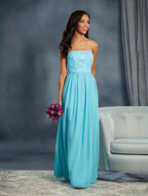 A Strapless, Long Bridesmaid Dress With A Natural Waist And Dramatic Lace Underlays.