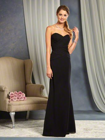 A Strapless, A-Line Style, Long Bridesmaid Dress With A Fitted Cross-Draped Bodice And Dropped Waist.