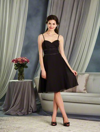 An A-Line Style, Short Bridesmaid Dress With A Spaghetti Straps And Beaded Trim At Both The Empire And Natural Waist Lines.