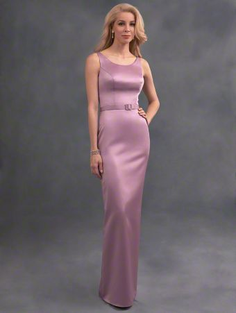 A long beautiful bridesmaid dress in satin with scooped neckline, tank straps, v-backline, and belted natural waist.