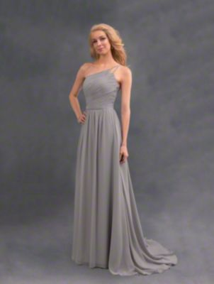 A beautiful long bridesmaid dress with single shoulder strap, natural waistband, and shirred skirt.